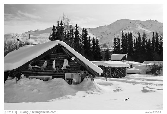 Heavily snow-covered cabins in winter. Wiseman, Alaska, USA (black and white)
