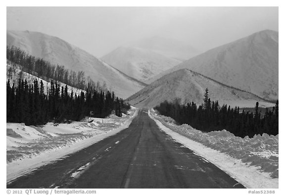 North Slope Haul Road. Alaska, USA (black and white)