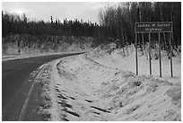 Sign marking begining of James W Dalton Highway. Alaska, USA (black and white)