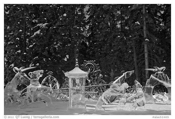 Ice scultpures, World Ice Art Championships. Fairbanks, Alaska, USA (black and white)