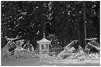 Ice scultpures, World Ice Art Championships. Fairbanks, Alaska, USA ( black and white)