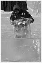 Ice carver lifting ice block. Fairbanks, Alaska, USA (black and white)