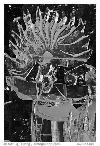 Detail of translucent pure ice sculpture. Fairbanks, Alaska, USA (black and white)
