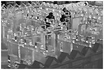 Maze made of ice, George Horner Ice Park. Fairbanks, Alaska, USA (black and white)