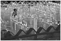 Woman in ice maze, Ice Alaska. Fairbanks, Alaska, USA (black and white)