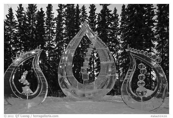 Multiblock Ice scultpures, World Ice Art Championships. Fairbanks, Alaska, USA (black and white)