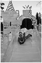 Girl on ice slide, Ice Alaska. Fairbanks, Alaska, USA (black and white)