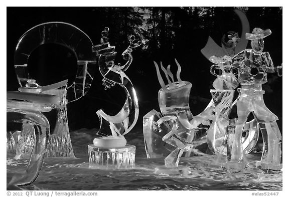 Ice sculptures at night, 2012 Ice Alaska. Fairbanks, Alaska, USA (black and white)