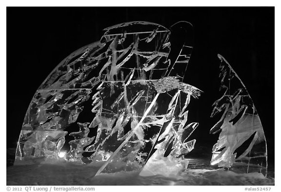 Illuminated ice carving, 2012 Ice Alaska. Fairbanks, Alaska, USA (black and white)