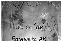 Welcome sign in ice, George Horner Ice Park. Fairbanks, Alaska, USA ( black and white)