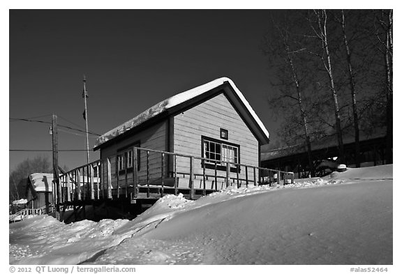 Chatanika mining camp in winter. Alaska, USA (black and white)