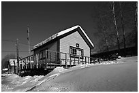 Chatanika mining camp in winter. Alaska, USA ( black and white)
