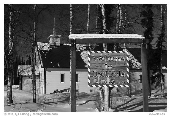 Welcome sign and church. North Pole, Alaska, USA (black and white)