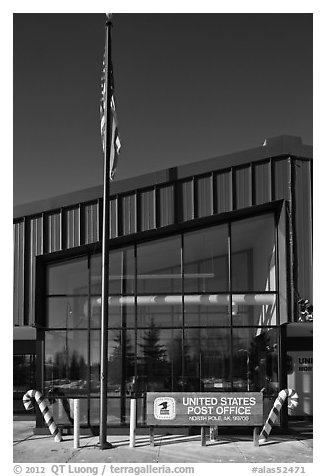 Post office facade. North Pole, Alaska, USA (black and white)