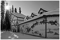Santa Claus House and sun in winter. North Pole, Alaska, USA ( black and white)