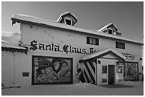Santa Claus House facade. North Pole, Alaska, USA ( black and white)
