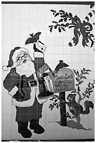Santa Claus mural. North Pole, Alaska, USA ( black and white)