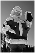 Giant Santa Claus statue. North Pole, Alaska, USA ( black and white)