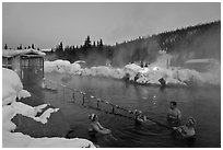Rock Lake natural pool in winter. Chena Hot Springs, Alaska, USA ( black and white)