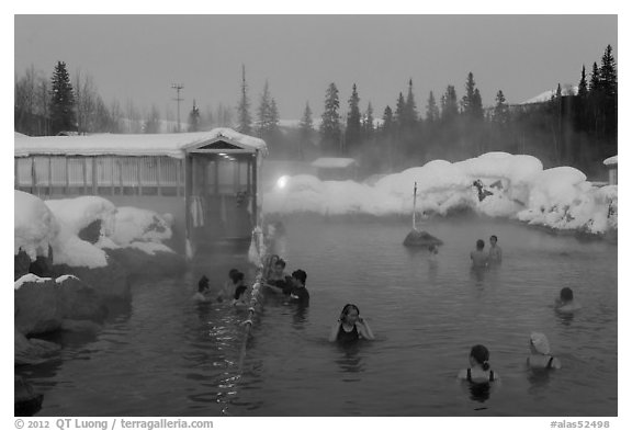 Popular outdoor hot springs, winter twilight. Chena Hot Springs, Alaska, USA (black and white)