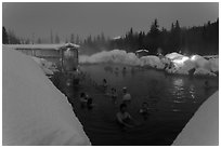 Hot springs at night in winter. Chena Hot Springs, Alaska, USA ( black and white)