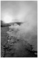 Oulet stream of hot springs and steam at sunrise. Chena Hot Springs, Alaska, USA ( black and white)