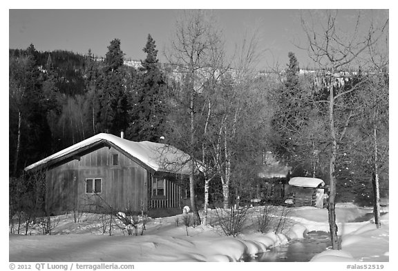 Resort cabins in winter. Chena Hot Springs, Alaska, USA (black and white)