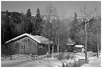 Resort cabins in winter. Chena Hot Springs, Alaska, USA ( black and white)