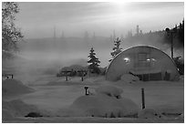 Greenhouse and steam. Chena Hot Springs, Alaska, USA ( black and white)