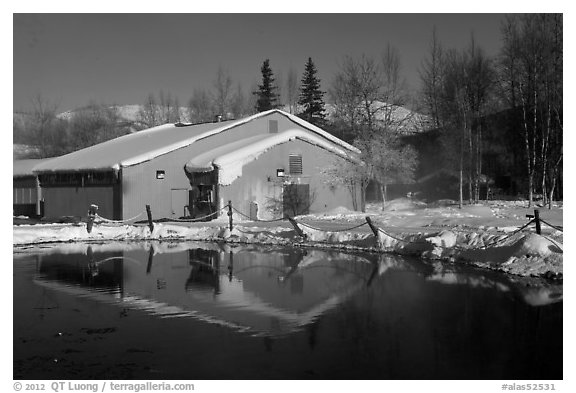 Bathhouse. Chena Hot Springs, Alaska, USA (black and white)