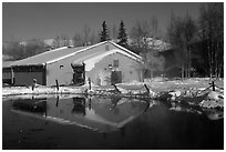 Bathhouse. Chena Hot Springs, Alaska, USA ( black and white)