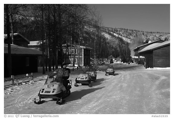 Snowmobiles and resort. Chena Hot Springs, Alaska, USA (black and white)