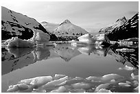 Portage Lake with icebergs. Alaska, USA (black and white)