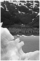 Blue iceberg and Portage Lake. Alaska, USA ( black and white)