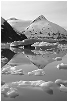 Iceberg-filled Portage Lake. Alaska, USA (black and white)