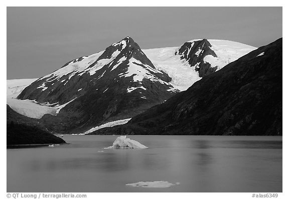 Icebergs in Portage Lake at dusk. Alaska, USA (black and white)