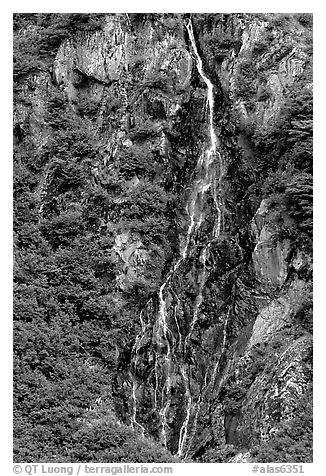 Waterfall. Alaska, USA (black and white)