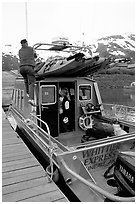 Kayaks loaded on a water taxi in Whittier. Whittier, Alaska, USA ( black and white)