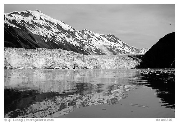 Barry glacier and mountains reflected in the Fjord. Prince William Sound, Alaska, USA (black and white)