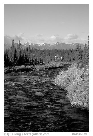 River and cabin, Denali Highway. Alaska, USA (black and white)