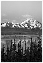 Snowy peaks and lake at dusk. Alaska, USA (black and white)