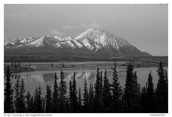 Purple mountains and lake at dusk. Alaska, USA (black and white)