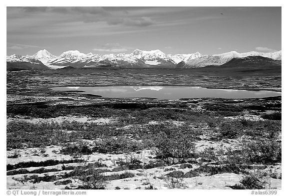 Fresh snow, Lake and mountains. Alaska, USA (black and white)