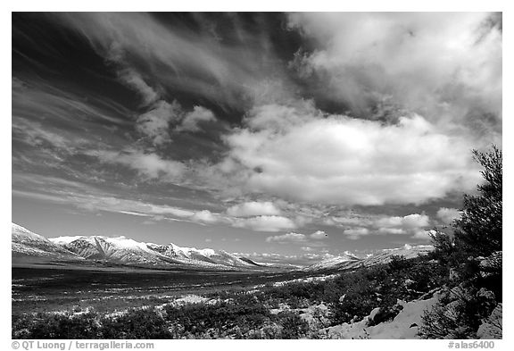 Valley and large white clouds. Alaska, USA (black and white)