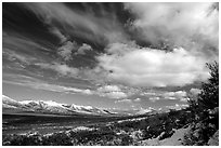 Valley and large white clouds. Alaska, USA ( black and white)