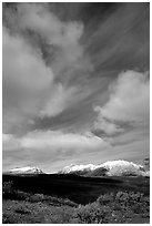 Mountain landscape with large white clouds. Alaska, USA (black and white)