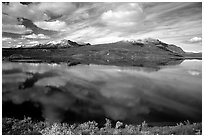 Lake and reflections, Denali Highway. Alaska, USA (black and white)