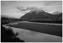 Matanuska River and Chugach mountains at sunset. Alaska, USA (black and white)
