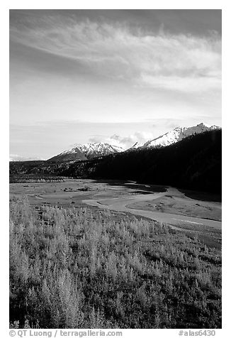 Aspens in fall colors,  Chugach mountains, winding river. Alaska, USA (black and white)