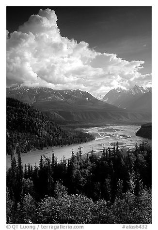 Matanuska River in summer. Alaska, USA (black and white)